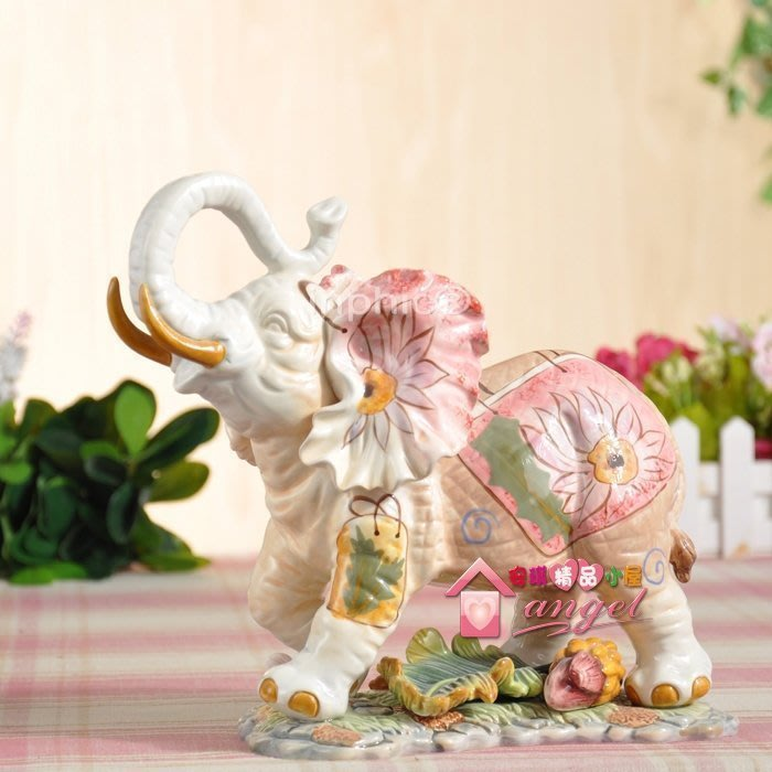 INPHIC-開運 手繪時尚購物包招財象陶瓷擺設 辦公禮品新居送品 商務禮品