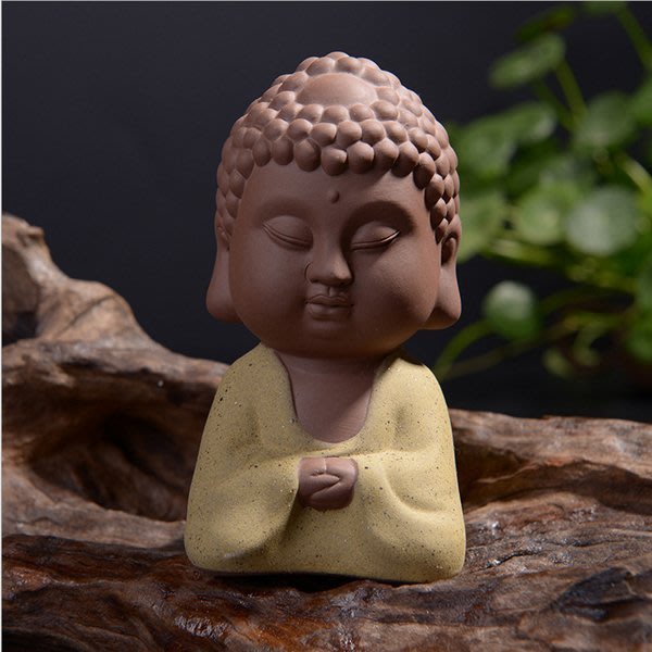 5Cgo【茗道】含稅會員有優惠  522672856270 紫砂雙面佛茶寵擺件如來佛祖家居車品擺件彩砂陶佛道佛像