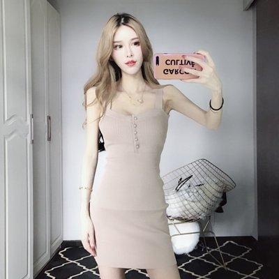 格格家 夏新款排扣裝飾修身吊帶高腰短裙針織彈力修身包臀連衣裙