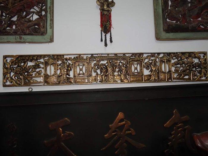 [御寶閣] 古董 文物 藝品 字畫 化石~鐵雕 大型 老鐵雕 福祿壽 鐵雕金漆 鐵雕老件
