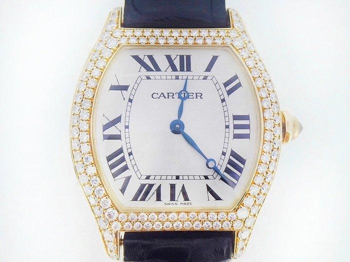 CARTIER 卡地亞 龜形原鑲鑽框 18K金 腕錶