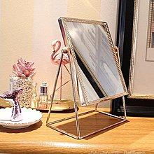 可開發票 ins北歐風化妝鏡 臺式單面鏡銅邊公主鏡桌面方鏡圓鏡少女心梳妝鏡【花樣年華】