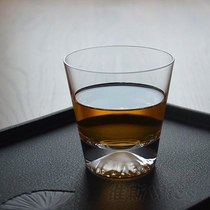 聚吉小屋 #水晶玻璃杯威士忌洋酒新穎烈酒日本富士山杯雪山冰山家用啤酒杯