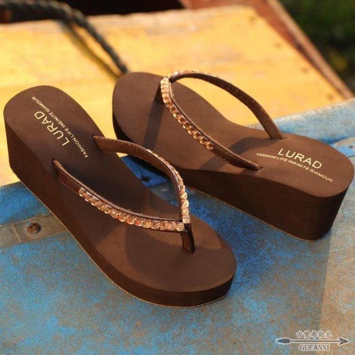人字拖 高跟水磚鞋女士防滑沙灘涼拖厚底坡跟夾拖 - 古梵希