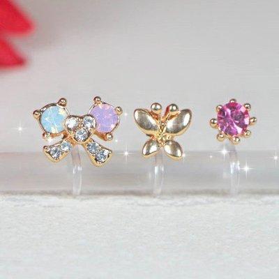 浪漫派飾品 G690 小淑女 蝴蝶結+蝴蝶+單鑽 一組3入 夾式耳環 矽膠耳環 無耳洞專用