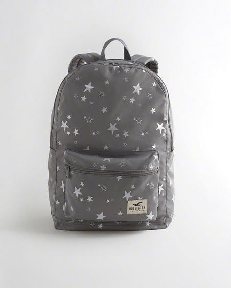 Maple麋鹿小舖 Hollister Co * HCO  女生款灰色星星海鷗布標後背包 * ( 現貨 )