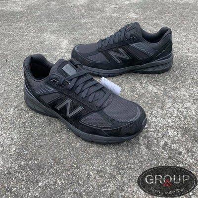 【GROUP A】NEW BALANCE 990 全黑 黑國旗標 黑V 皮革標 麂皮 美製 復古 慢跑鞋 M990BB5