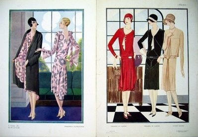 ((天堂鳥)) 1920年代法國 ART DECO 時尚女裝印刷畫#220 (一組共20張美圖)