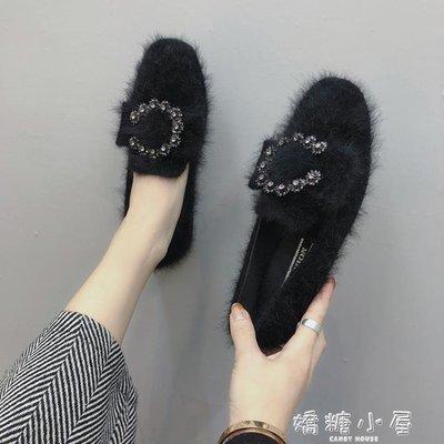 豆豆鞋女新款春季百搭外穿晚晚鞋女韓版平底單鞋毛毛鞋冬瓢鞋