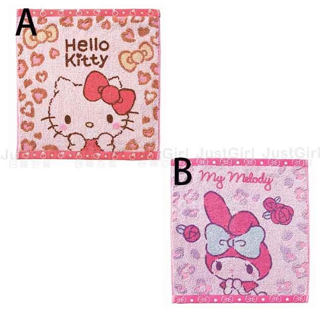 小方巾 三麗鷗 Hello Kitty 凱蒂貓 美樂蒂 豹紋 蝴蝶結 日本進口正版授權
