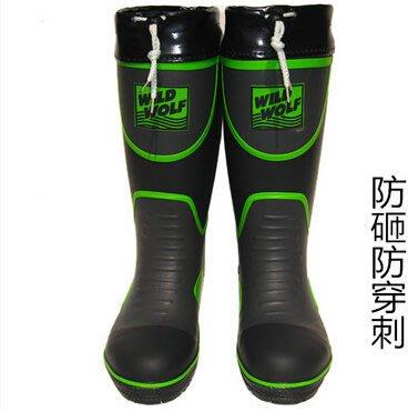 男雨鞋高筒橡膠水靴歐美鋼頭鋼底安全大底防砸加厚耐磨束口
