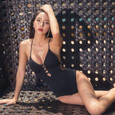 奇奇店-韓國新款游泳衣女性感連體三角小胸聚攏修身遮肚顯瘦保守溫泉泳裝