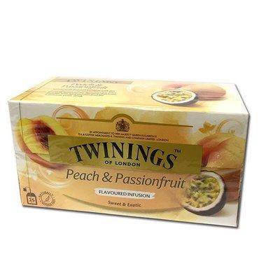 英國唐寧茶 TWININGS-熱帶風情茶包 PEACH & PASSIONFRUIT TEA 2g*25入/盒-【良鎂】