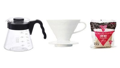 HARIO V60 咖啡壺 VCS-02+陶瓷濾杯VDC-02W+手沖無漂白濾紙100入VCF-02-100M