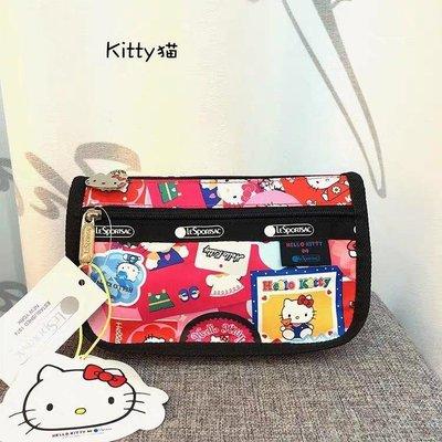 凱莉代購  LeSportsac Kitty 7315 凱蒂貓聯名 實用手拿包兩條拉鍊筆袋化妝包 小號 預購