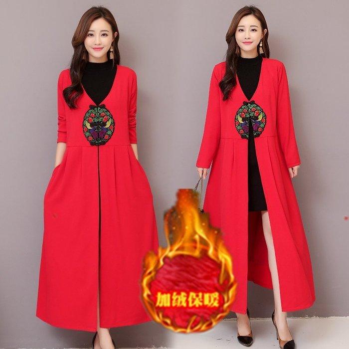 名族風 漢服 棉麻 旗袍 刺繡冬裝新款中國風刺繡加絨加厚V領顯瘦長款大衣外套
