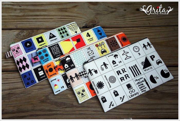 ♥grita's handmade♥進口布料手作拉鍊萬用包/化妝包/存摺包/護照包—旅行風(四款現貨)