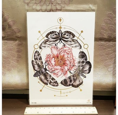 【萌古屋】飛蛾與紅花 - 男女防水紋身貼紙刺青貼紙TH-188
