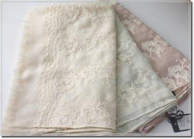 【WildLady】 薄款日牌日系質感清爽繡花別緻絲巾 圍巾