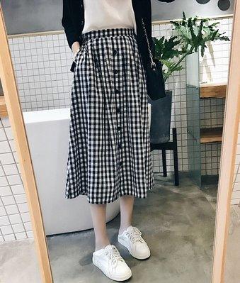 ☆Bubble Lady ☆ 【E308】文藝高腰 鬆緊腰格紋半身裙