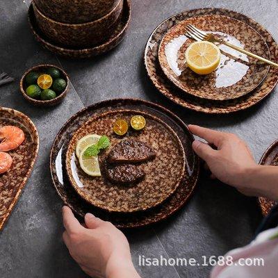 有一間店-復古日式碗碟餐具套裝陶瓷家用酒店菜盤湯鍋創意懷舊陶土家庭套餐(規格不同 價格不同)