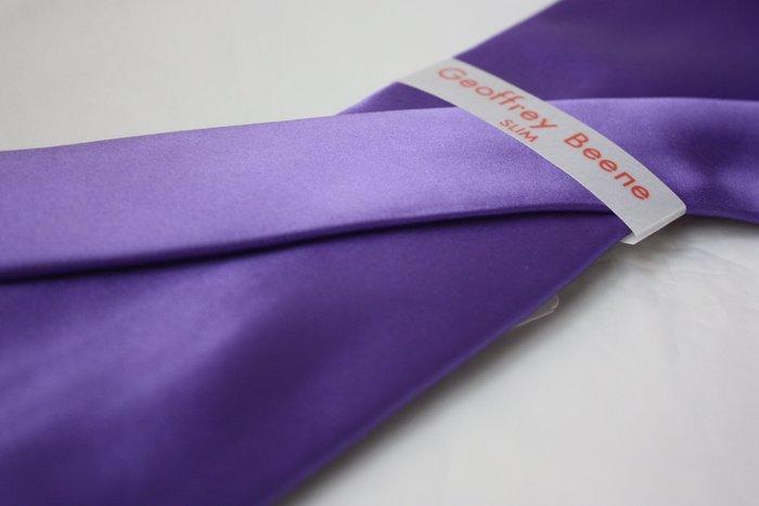 【GEOFFREY BEENE】全新正品 素面緞面領帶-紫色【窄版7cm】*領帶兩條95折三條9折*GB59
