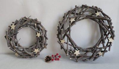聖誕裝飾用品墻壁木制環和五角星裝飾掛件創意家居場景布置用品