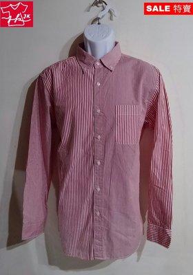 日本 UNIQLO 襯衫 條紋 長袖 薄款 漸層款-男款-紅-L【JK嚴選】LV 鬼怪