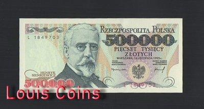 【Louis Coins】B478-POLAND-1993波蘭紙幣,500.000 Złotych