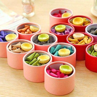 《Jami Honey》【JI1161】泰式薰香植物精油錐形香塔禮盒 (附陶瓷香盤)