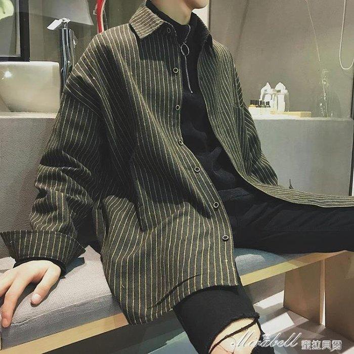 襯衫男 襯衣男長袖韓版帥氣男士休閒中長款條紋襯衫男短袖寬鬆潮外套   蜜拉貝爾
