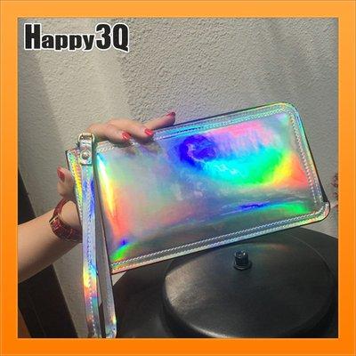 長夾鐳射布炫彩雷射錢包日韓風造型超個性長夾變色錢包-銀/紫/金【AAA3988】