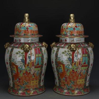 ㊣姥姥的寶藏㊣ 清晚期廣彩描金人物花鳥大號將軍罐一對全手工  古瓷古玩古董收藏