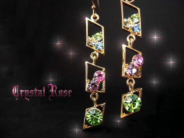 ※水晶玫瑰※ 水晶鑽 耳勾式耳環(DD391)