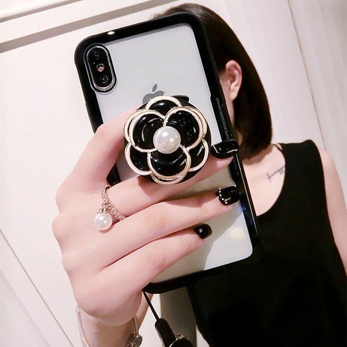 三星 A6 A8 PLUS J6 J2pro 2018版 手機殼 立體山茶花 復古花朵 氣囊伸縮支架 帶掛繩 軟邊全包