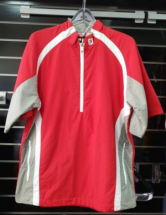 (易達高爾夫) 全新原廠FOOTJOY 23412 紅/灰色 男半袖風衣