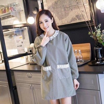 日和生活館 廚房工作帶袖圍裙長袖純棉正韓全棉大人罩衣可愛反穿衣帶袖罩衣S686