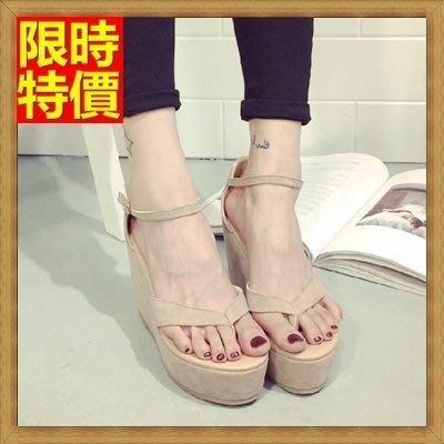 厚底坡跟涼鞋 楔型涼鞋(零碼賠售出清、恕不退換)-時尚性感熱銷夾腳真皮女鞋子69w33[獨家進口][米蘭精品]