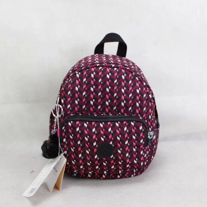 Kipling 猴子包 mini 12673 粉色幾何印花 多用肩背斜背輕量雙肩後背包 小號 防水 限時優惠