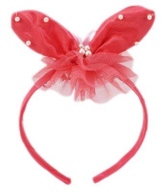 【卡漫迷】 橘紅 小兔子 髮箍 庫3 ㊣版 女性 兒童 珍珠 髮飾 髮圈 緞帶  美髮用品 髮妝品 派對