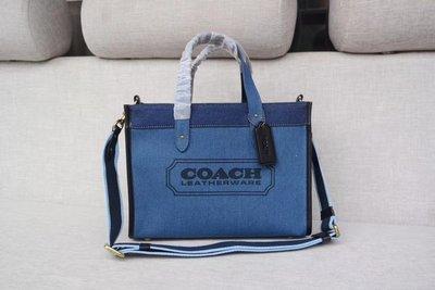 【小怡代購】 全新 COACH 88243 美國正品代購新款藍色帆布子母購物包 女式手提包 單肩包 斜跨包 超低直購