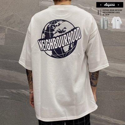 大學T  NEIGHBOURHOOD 韓國 太空棉寬鬆落肩 五分袖短T【KA220】落肩 寬鬆短袖  青山AOYAMA