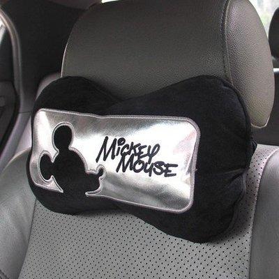 米奇卡通汽車用品頭枕護頸枕靠枕一對座椅...