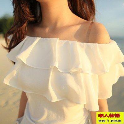 夏季韓國可愛一字領雪紡衫雙層荷葉邊露肩T恤修身短袖上衣女【潮人物語】