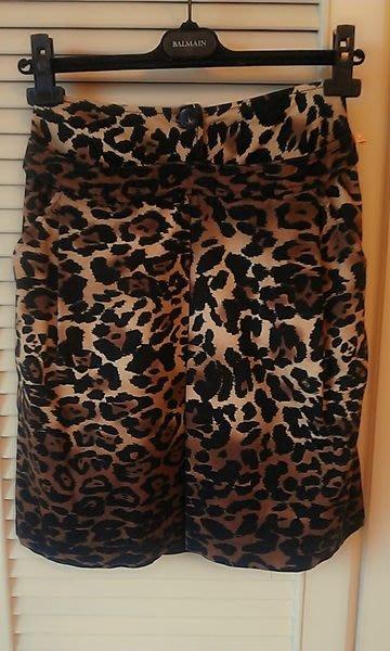 【SPORTMAX】天鵝絨豹紋牛角扣性感鉛筆裙