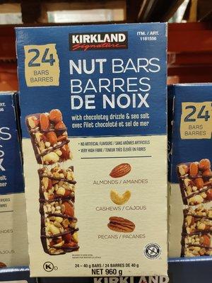【好市多COSTCO 商品代購】科克蘭 黑巧克力堅果棒40公克*24條/盒