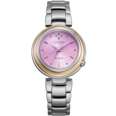 【台南 時代鐘錶 CITIZEN】星辰 Eco-Drive光動能 L系列 典雅氣質腕錶 EM0588-81X 紫/銀 3