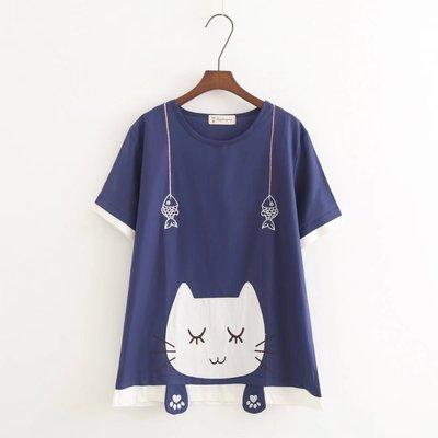 【C3582】圓領  日系森女系可愛貓咪短袖上衣☆*藍荳荳小舖*☆(預購)