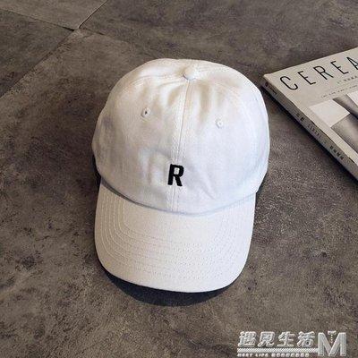 美式簡約R字母軟頂棒球帽女夏季情侶休閒百搭鴨舌帽防曬遮陽帽男
