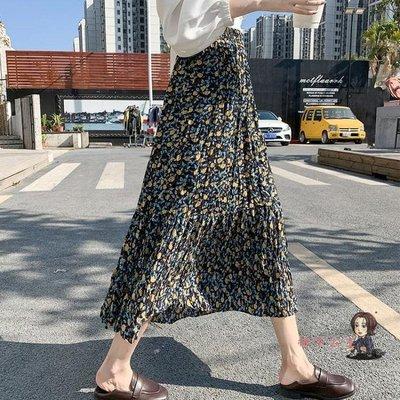 全館免運 碎花半身裙 碎花雪紡半身裙女夏2020年春季新款時尚遮胯長裙子顯瘦高腰a字裙 5色